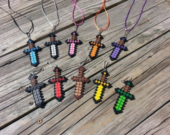 15 Piece Boys Mini Sword Necklace W/ Zipper Pull Party Favor // Handmade Party Favors // Inspired by Minecraft Video Game Party Favors
