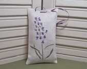 Lavender sachet, stenciled with flowers, ribbon for hanging, hang on a dresser knob, filled with 100% dried lavender for a lovely aroma