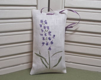 Lavender fabric sachet, stenciled with flowers, ribbon for hanging, closet sachet, birthday, 100% dried lavender for a lovely aroma