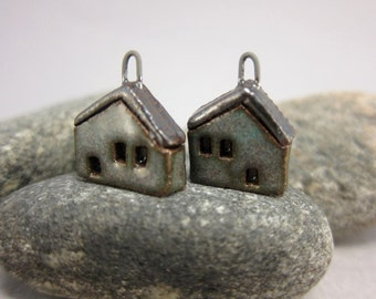 READY TO SHIP...Miniature House Charms in Stoneware...Set of 2...Mossy Green