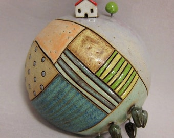 Enchanted Forest ...3D Wall Globe in Stoneware