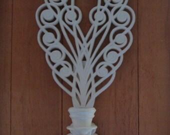 Coeur en rotin blanc scrapbooking avec emplacement photo for Decoration murale rotin