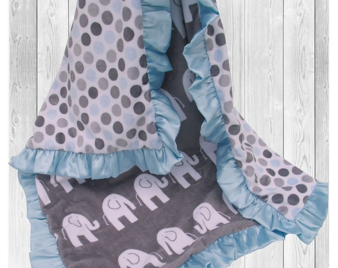 Minky Baby Blanket in Blue and Charcoal Gray Jungle Elephant Print, Blue and Gray Woodland Animals Blanket, Satin Ruffle