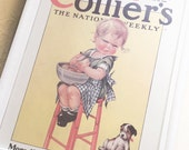 Framed Vintage Collier's Magazine Poster Baby Girl with Dog Cute Wall Hanging 10x13