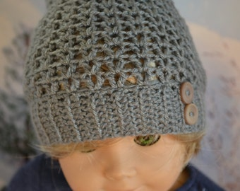 Doll Beanie - Boy or Girl Doll - Doll Clothes for 18 inch - Crocheted Slouch Beanie - Heather Gray Grey - MADE TO ORDER - fits American Girl
