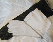 Belgium kid gloves size 7, washable leather, white and black gloves, cosplay