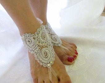 Wedding barefoot lace sandals,wedding shoes