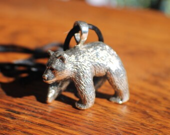 90 gram Sterling Silver Grizzly Bear Figurine large loop added