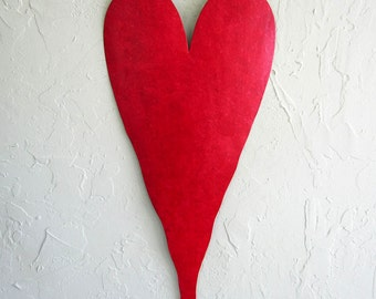 Metal Wall Art Large Red Heart Sculpture Recycled Metal Wall Hanging Valentines Heart Anniversary Wedding Gift Custom Colors 25 x 11