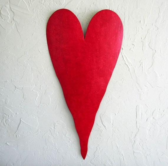 Large Heart Wall Decor : Metal wall art large red heart sculpture by