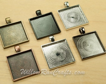 20 pcs 25mm Square Pendant Trays with Flat Glass Square Tiles in Ant Bronze, Gun Metal, Ant Copper, Black, Ant Silver and Silver