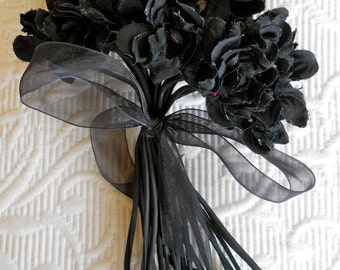 Antique 1930's Black Silk Floral Bouquet