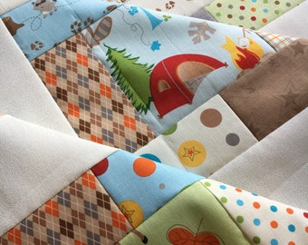 Quilt Top - Fox Trails Unfinished quilt - by Doohickey Designs for Riley Blake Designs - bright and fun 38 in x 38 in