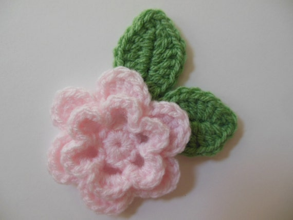 Crocheted Flower with Leaves - Light Pink and Sage Green - Acrylic Yarn