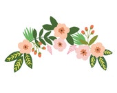 Floral Hand Drawn Clip Art (Instant Download)