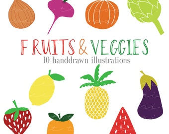 Fruit and Vegetable HandDrawn Clip Art (Instant Download)