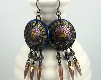 Arabesque Dagger Chandelier Earrings in jewel tones on matte black wires | boho beaded jewelry