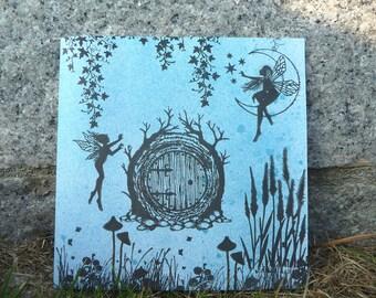 Large Square Fairy Greeting Card ~ Fairy Door & Moon Fairy ~ Birthday Card