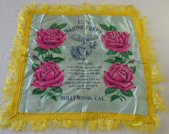 on sale Vintage U.S.M.C. Military Hollywood California Mother Satin Souvenir Pillow