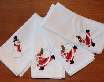 Vintage Cloth Christmas Napkins, Set of Four
