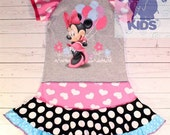 A dress made out of authentic MINNIE MOUSE tshirt super cool funky recycled upcycled  pieced  size 6/7