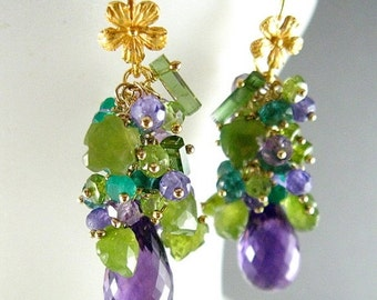 25% Off Summer Sale Purple and Green Gemstone Cluster Gold Filled Earrings - Amethyst, Peridot, Vesuvianite, Tourmaline