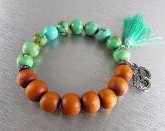 End Of Summer Sale Turquoise and Sandlewood With Pave Stretch Bracelet, Tassle Bracelet, Layering Bracelet, Bohemian Bracelet