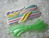 vintage  barrette plastic childs barrettes, soft green bow, white barrette with colorful accents larger size