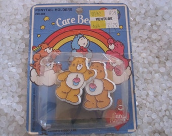 Vintage barrettes,Care Bears birthday bear pony tail holders