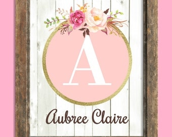 Baby Girl Nursery Wall Art, Custom Name Print, Baby Gift, Pink Gold Nursery Decor, Wall Art Girl, Personalized Baby, Floral Letter Art