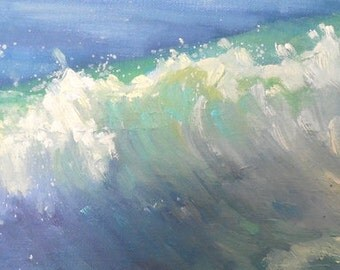 "Small Seascape, Ocean Painting, impasto seascape, daily painting, ""Caribbean Blue"", 6x12x.75"" oil"