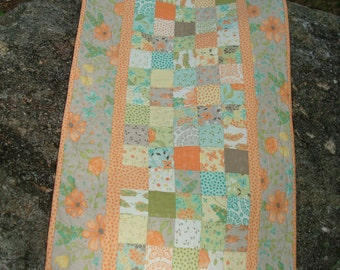 Floral Pastel Quilted Table Runner Cottage Style