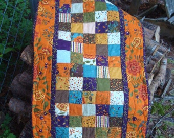 Gold Orange Teal and Purple Floral Quilted Table Runner