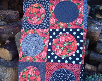 Black White Red Poppy Twin Bed Quilt Lap Quilt Throw Quilt