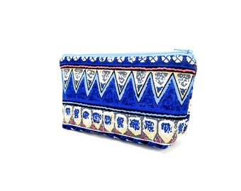 Boho Pouch, Cosmetic Bag, Pencil Pouch, Zipper Pouch, Fabric Pouch, Pouch, Gift for Her, Gift Under 20, Boho Motifs in Blue, Taupe and Gold