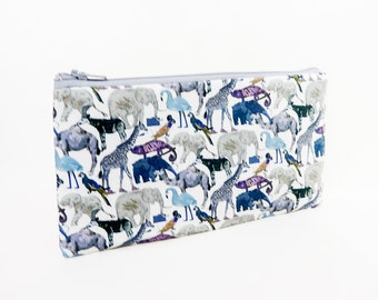 Fabric Pouch, Change Purse, Coin Purse, Zipper Pouch, Animal Fabric Pouch, Pouch, Fabric Case, Zoo Animals Pouch, Liberty of London Pouch