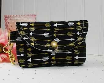 Small Snap Pouch with Gold Clip... Metallic Gold Arrows in Black