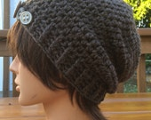 Brown Wool Crocheted Slouch Hat 25/15