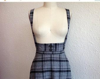 SALE Plaid cotton flannel suspender skirt Sz 0/2/4/6