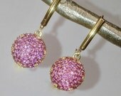 VALENTINES SALE Pink Pave Earring, Pink Topaz Earrings, Minimalist Dangle Gold Vermeil Pink Earring, Pink Wedding Earring, Evening Earring