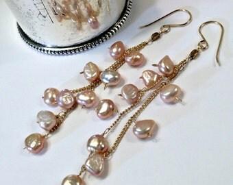 Blush Pearl Long Dangle Earrings 14kt Gold Fill Chain Tassel Earrings Wire Wrap Bohemian Pearl Earrings