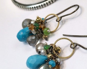 SUMMER SALE Turquoise Earrings Colorful Gem Cluster Earring Wire Wrap Opal Labradorite Gemstones Mixed Metal Gold Oxidized Silver Petite Clu