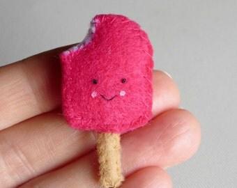 Strawberry ice cream creamsicle miniature felt plush play food people