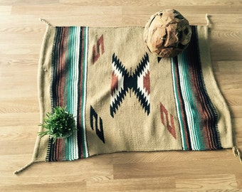 vintage woven  wall hanging tapestry coloful Native American kilim rug
