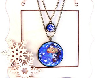 Solar System Necklace Earth and Moon Planet Science Jewelry - Hostess Gift