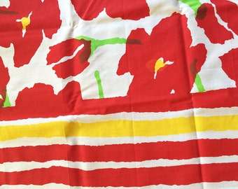 Vintage Mary Quant Tablecloth, Red Flower Cottage Chic