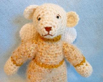 Crochet Angel Bear with Gold Dress, Stuffed Bear, Stuffed Animal, Holidays, Home Decor, Christmas Bear, Christmas Decoration, Teddy Bear