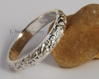 14K Flower Band Half Round Carved flowers leaves Yellow, White or Rose gold