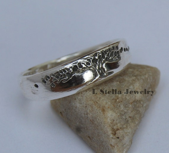 Wedding Band Tree of Life Ring Women's single band Tapered inside engraving Celtic harmony