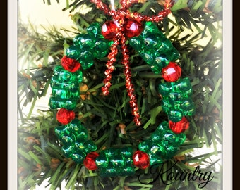 Glistening Beaded Wreath Ornament /Glistening Beaded Wreath Handcrafted Ornament (Ready to Ship)